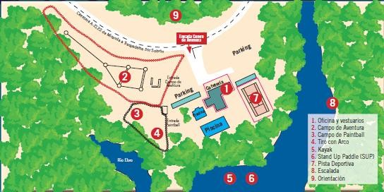 Mapa instalaciones Centro de Aventura de Sobrón
