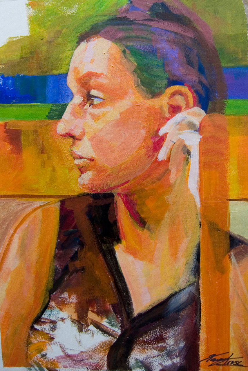 Sketched woman in the subway. Acrylic on paper