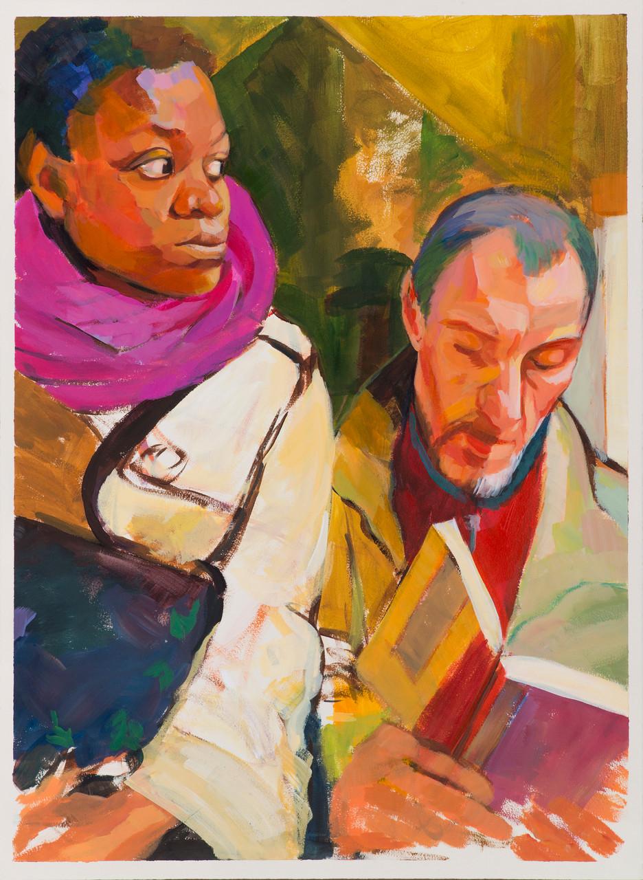 Hombre leyendo y mujer con bufanda .  Acrílico sobre papel.