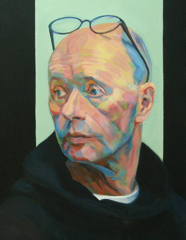 Hanjo in a black sweater. 80 x 54 cm. Acrylic on canvas.