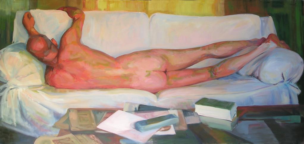La Siesta 97 x 212 cm. Oleo sobre lienzo.