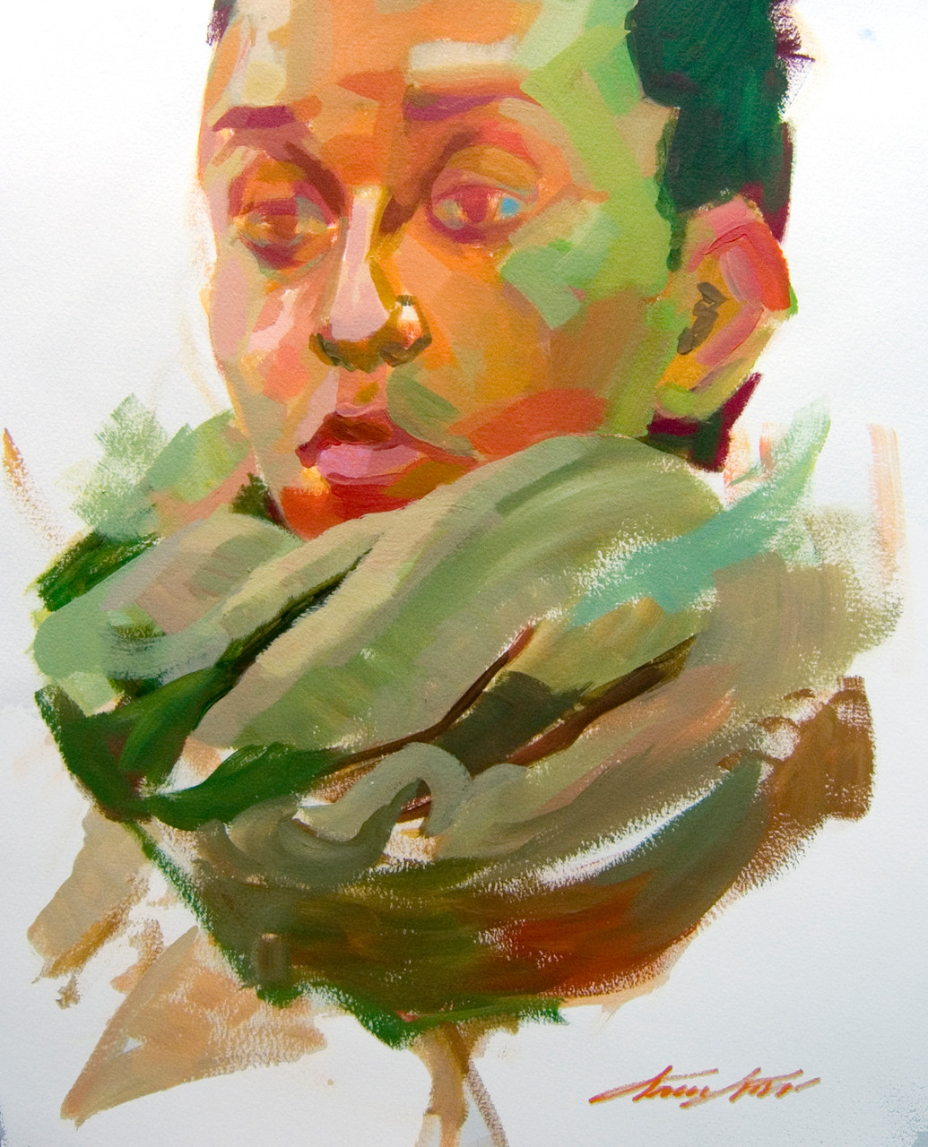 Sketched face of woman with scarf. Acrylic on paper