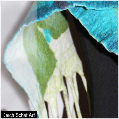 """Großer Schal """"Blau-Grün"""" - grafisch abstrakt"""