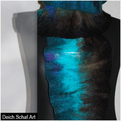 """Großer Schal """"Türkisumbra"""" - drapiert"""
