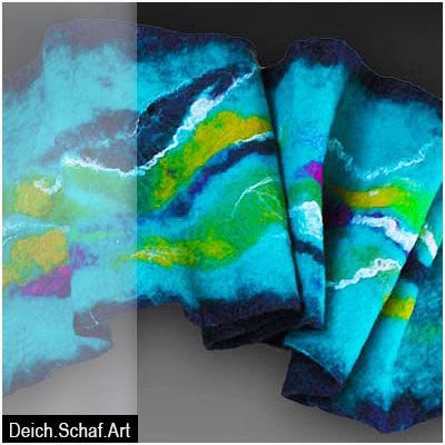 Lagunefarbener Schal mit Fantasielandschaft