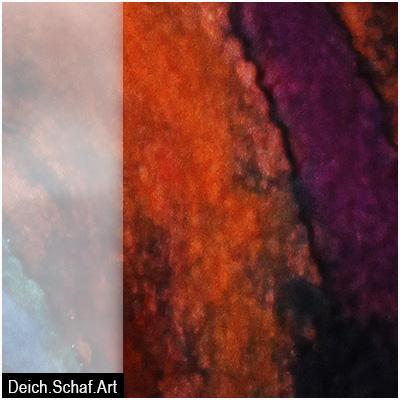 Schal - Filz auf bemalter Seide - Detail