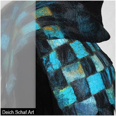 Großer Schal mit Streifen und Karos