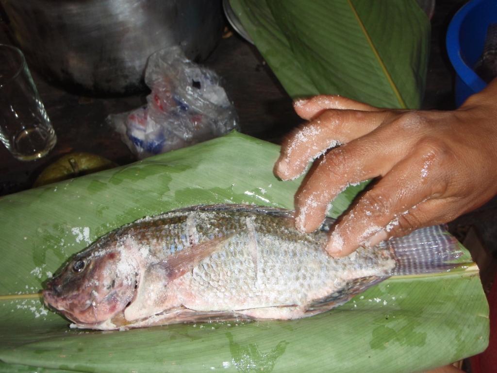 unser Dschungelsnack, Fisch im Bananenblatt gedämpft dazu Yuca