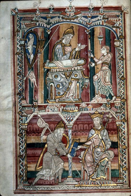 Naturalis Historia de Pline L'Ancien Manuscrit du XIIe Abbaye Saint-Vincent Le Mans . Pline L'Ancien (en chevalier) remettant son manuscrit à Vespasien