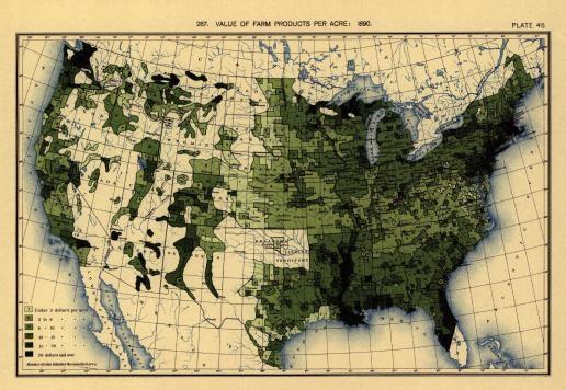 Mapa de Estados Unidos con el valor de los productos agrícolas por acre y por condado en 1890