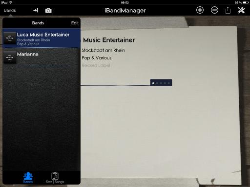 Bild: Bands und Musiker Ansicht iBand Manager App