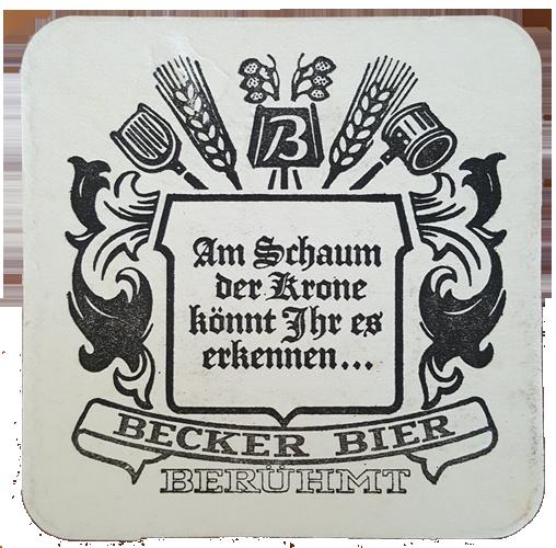 Bierdeckel Brauerei Becker St. Ingebrt