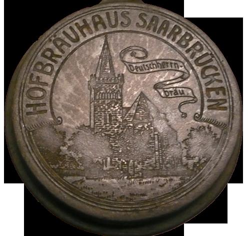 Zinndeckel Reklame Hofbräuhaus Saarbrücken Deutschherrn Bräu