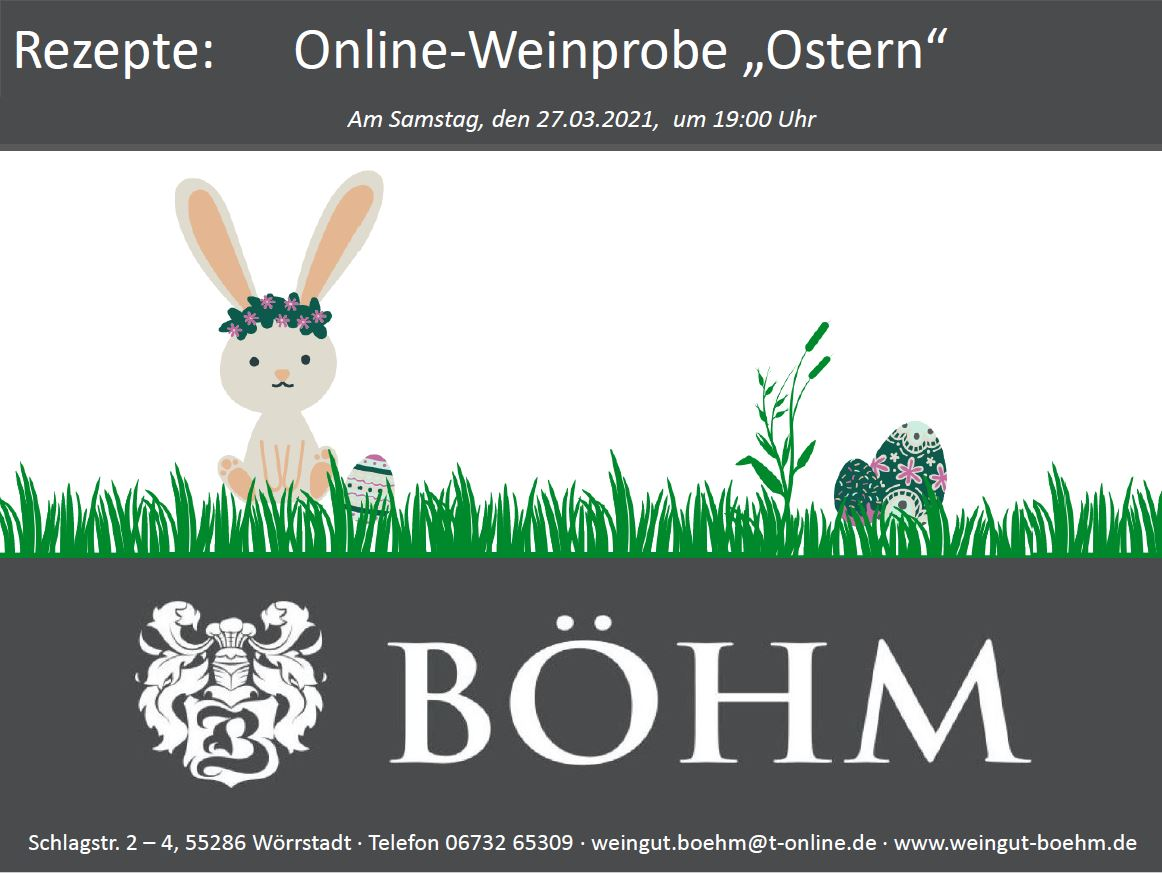 """Online-Weinprobe """"Ostern"""": Rezeptbuch"""