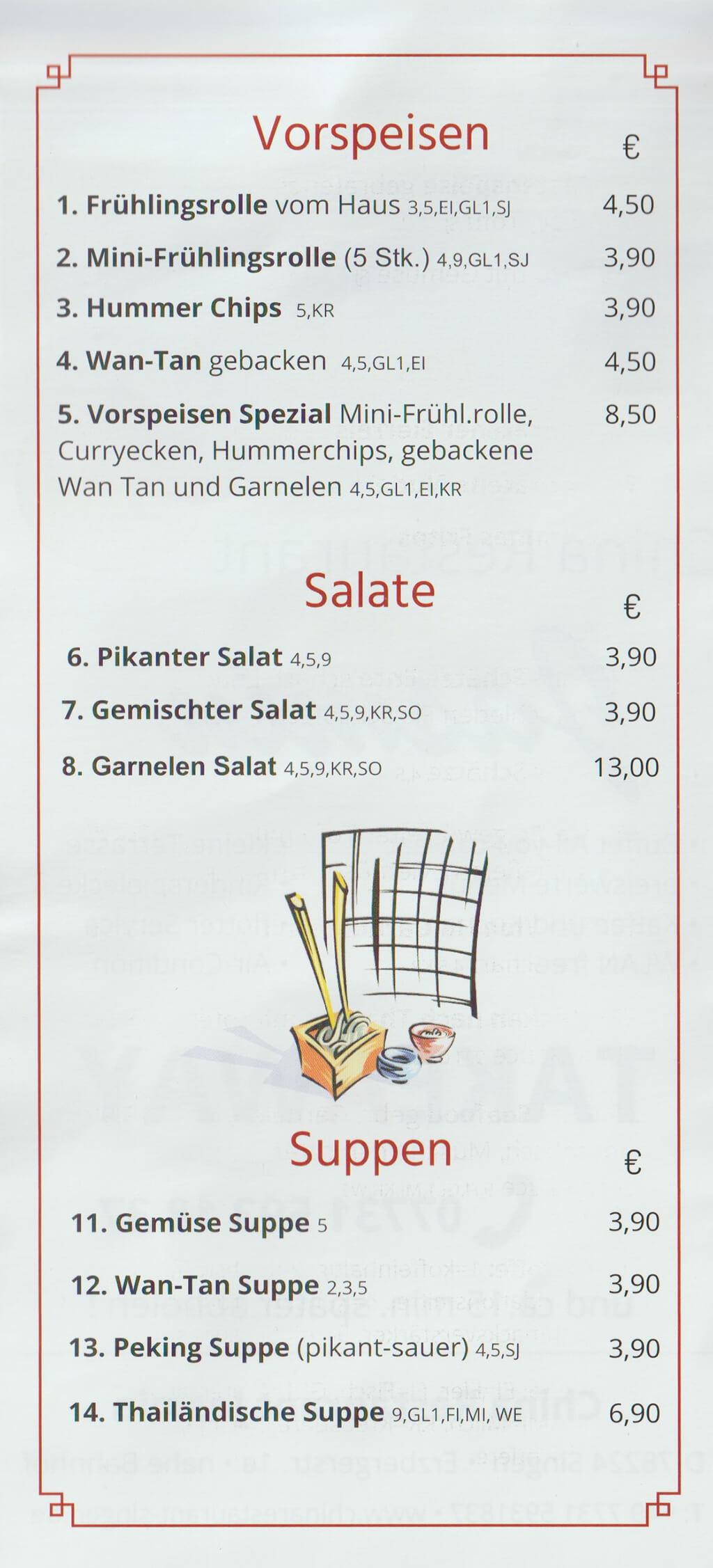 Vorspeisen, Salate und Suppen