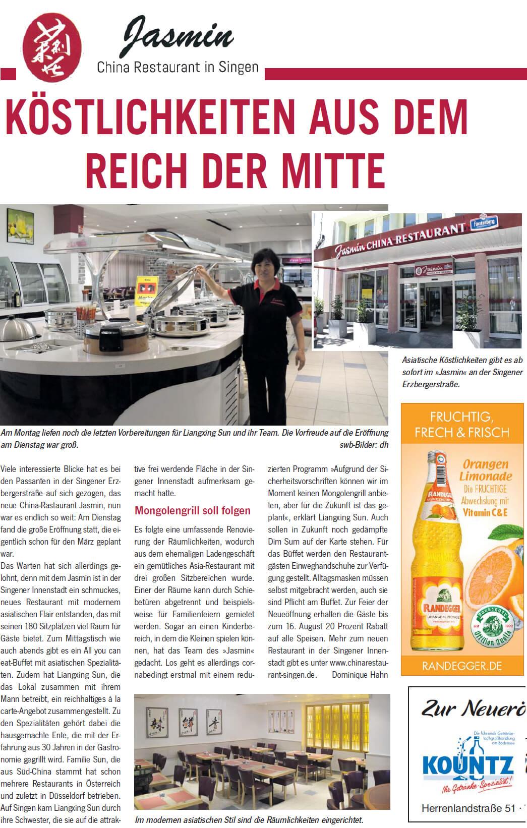 Bericht Neueröffnung China Restaurant Jasmin im Wochenblatt