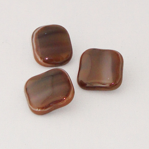 P1128. Easy button stenen van bruin gemarmerd opaal glas.     per stuk €2.00 en 3 voor €5.00.