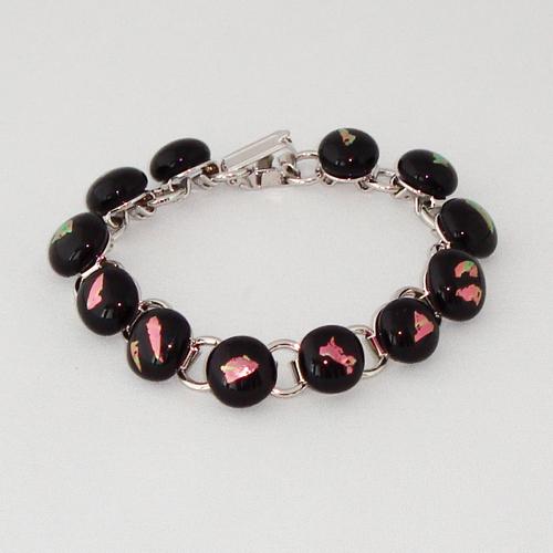 P1187. Schakelarmband met zwart opaal en rose dichroic glas.     €19.50.