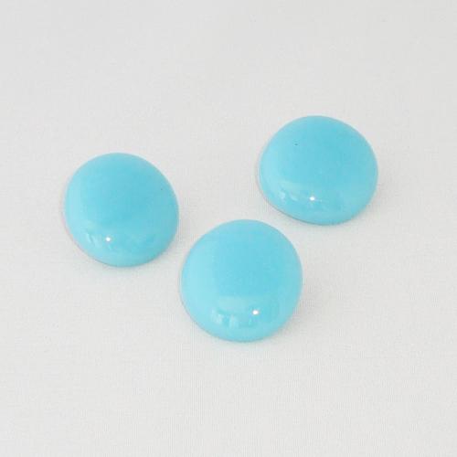 P1138. Easy button stenen van turquoise opaal glas.     per stuk €2.00 en 3 voor €5.00.