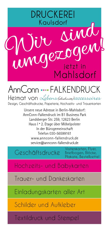 AnnConn-Falkendruck, Falkendruck, AnnConn, Kaulsder Falkendruck, Druckerei Kaulsdorf, Druckerei Mahlsdorf, Druckerei Biesdorf, Trauerkarten drucken