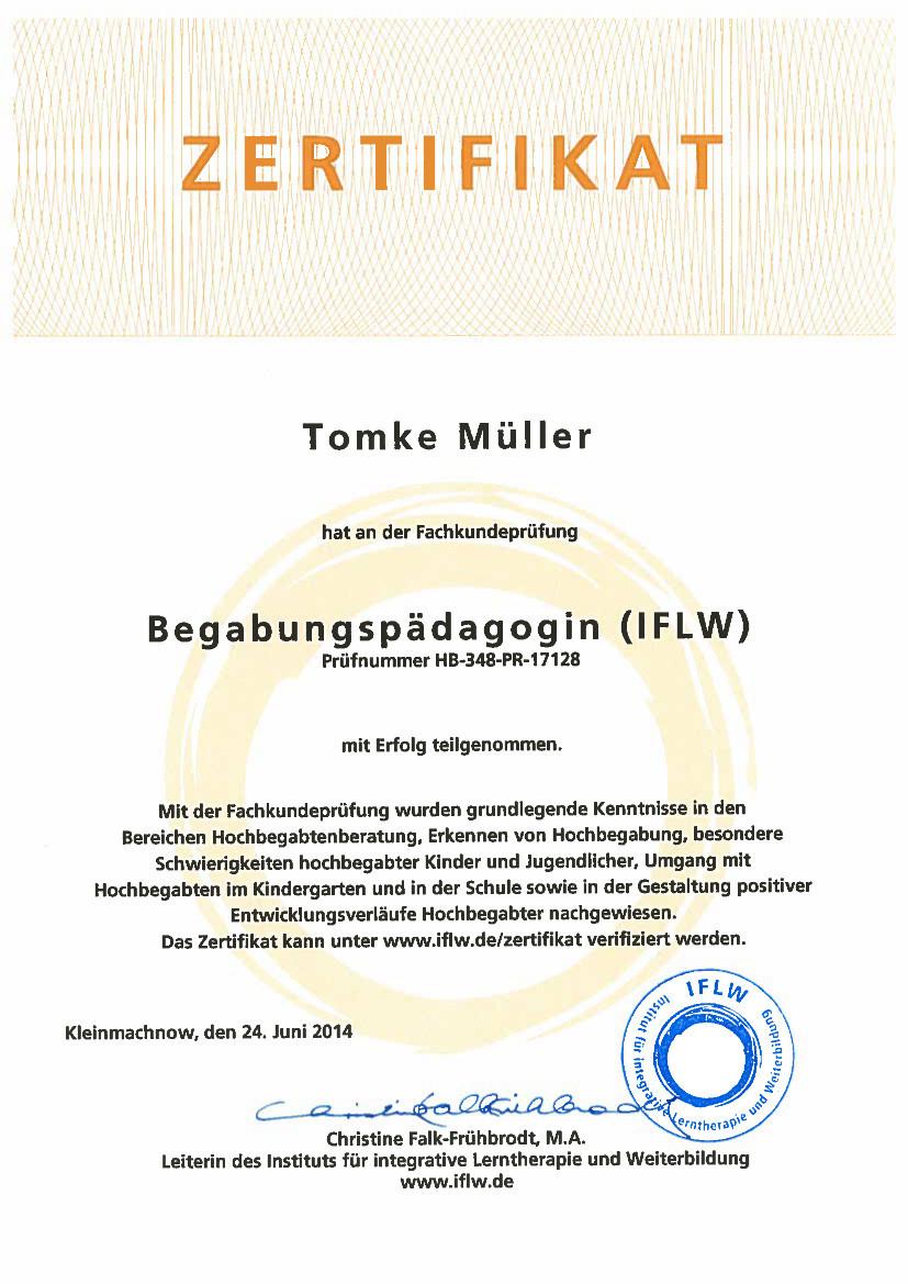 Zertifikat Begabungspädagogin (IFLW)