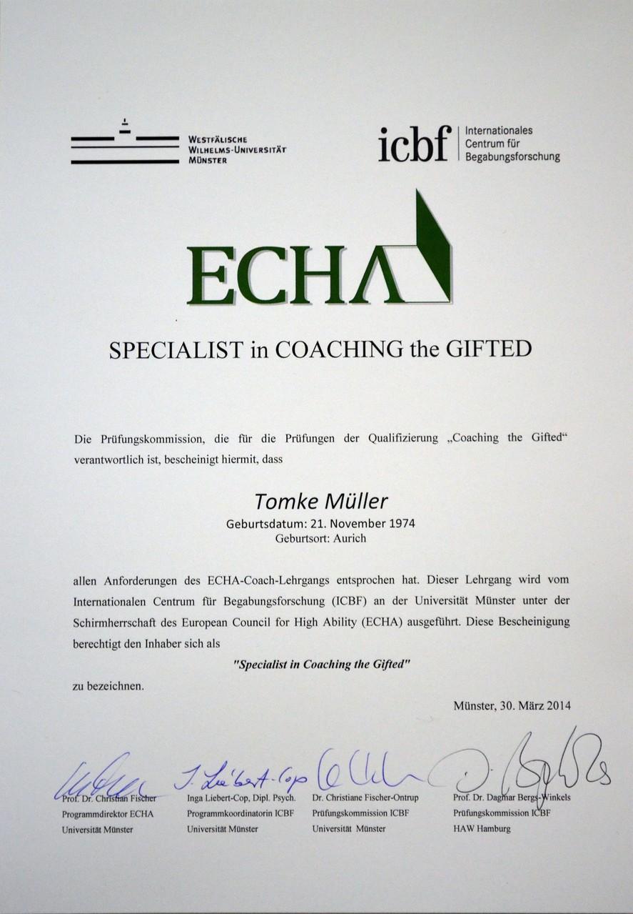 Zertifikat ECHA-Coach (ICBF)