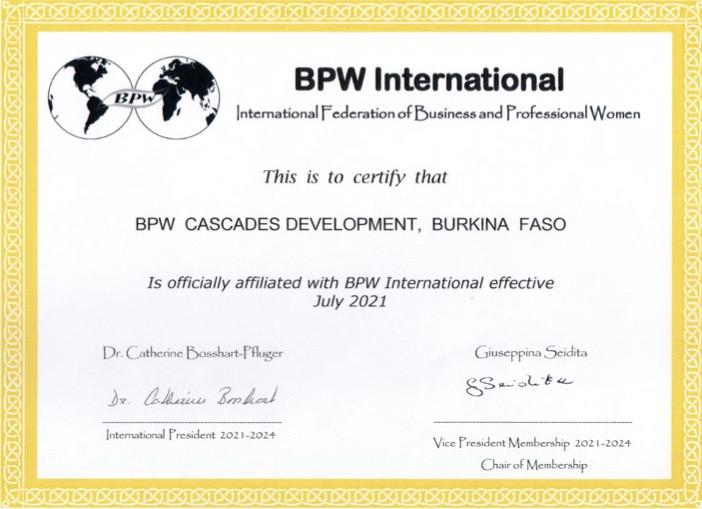New Affiliate Club - BPW Cascades Development, Burkina Faso