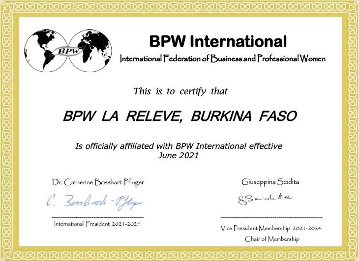 New Affiliate Club - BPW La Releve, Burkina Faso