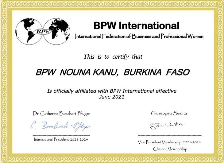 New Affiliate Club - BPW Nouna Kanu, Burkina Faso