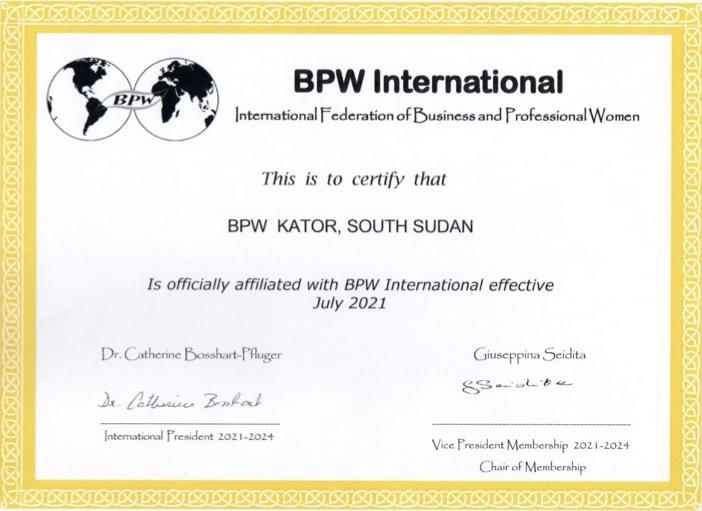 New Affiliate Club - BPW Kator, South Sudan