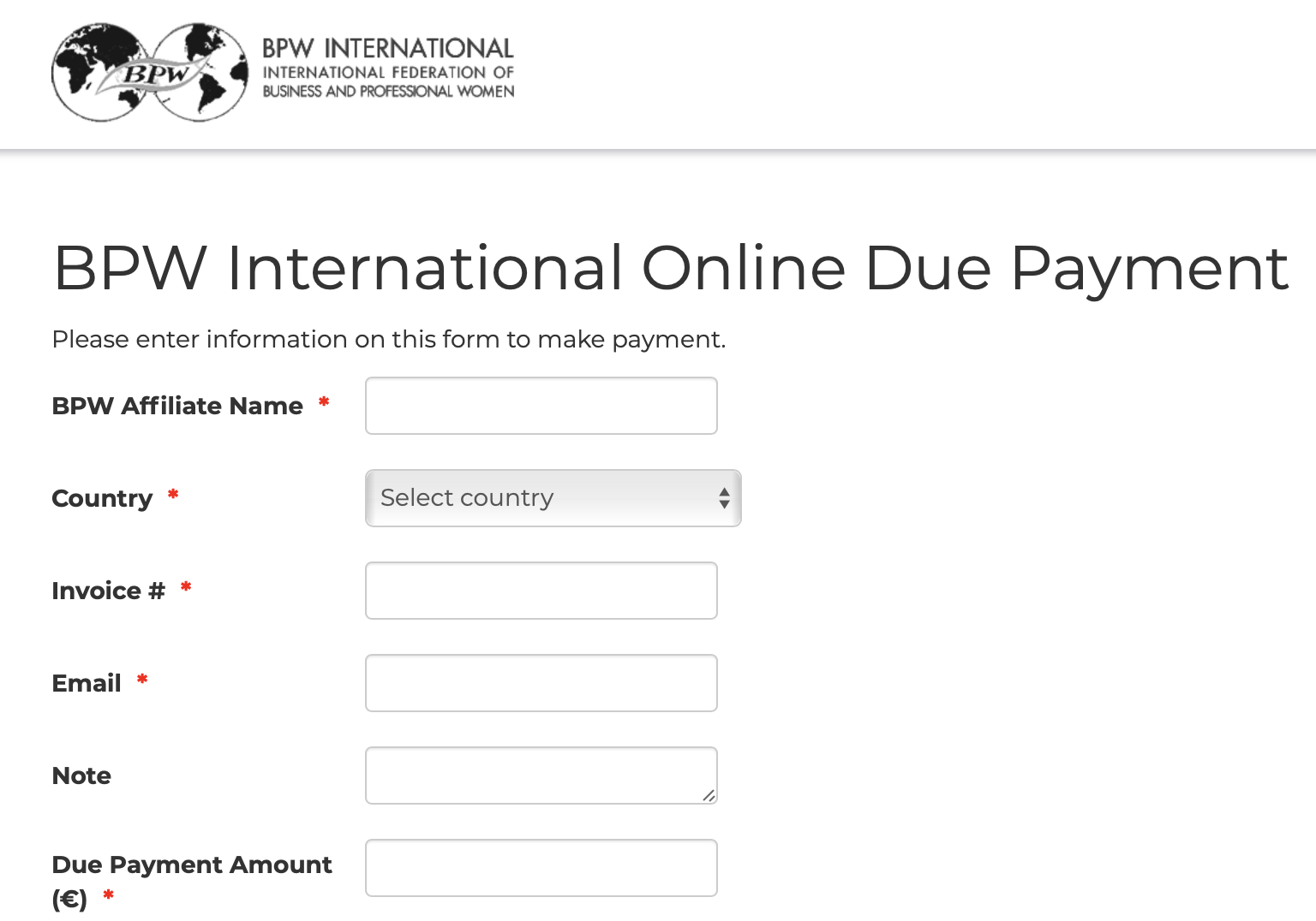 BPW International Online Due Payment