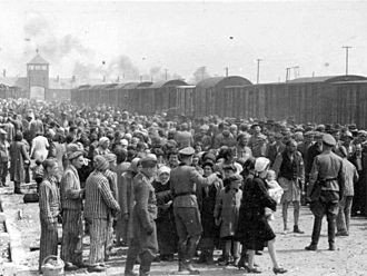 Jews are selected by Nazis to be sent to the gas chamber at Auschwitz concentration camp,