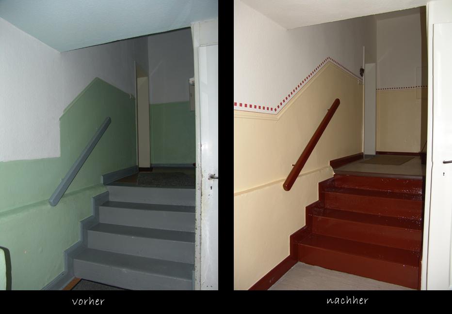 Treppenhaus vorher-nachher