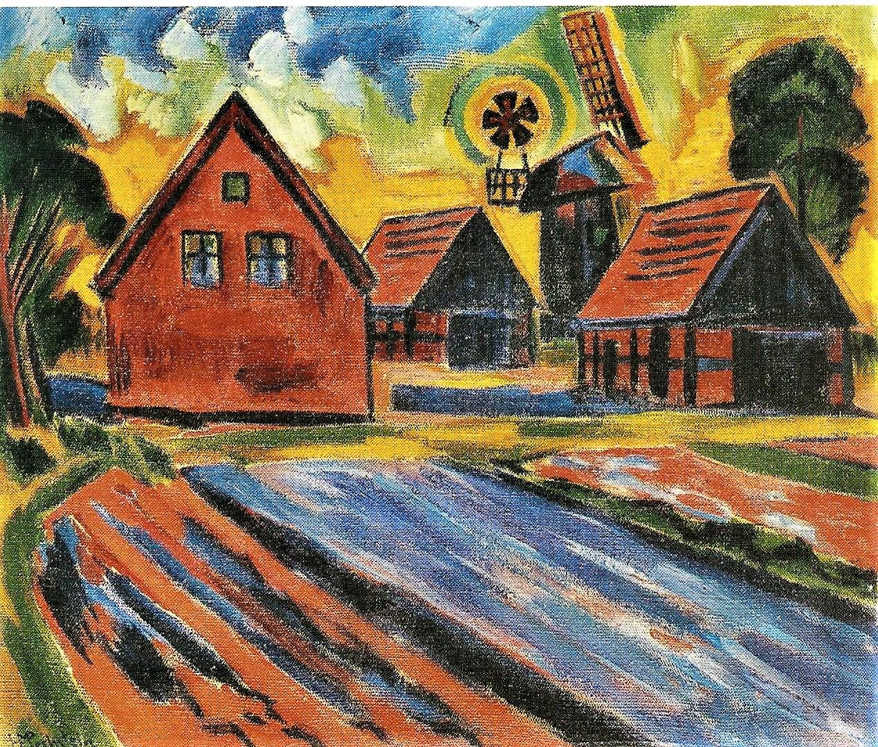 Hermann Max Pechstein: Rote Häuser mit Windmühle, 1922