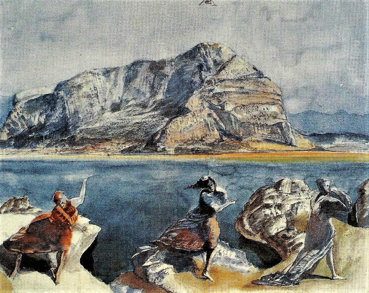 Werner Tübke: Monte Pellegrini mit drei weiblichen Figuren, 1978