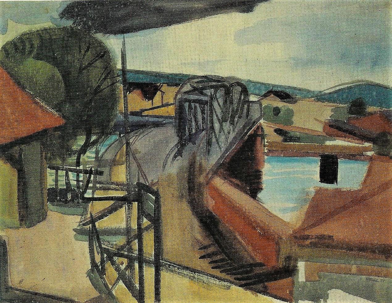 Hans Düne: Eisenbahnbrücke Hameln, 1951