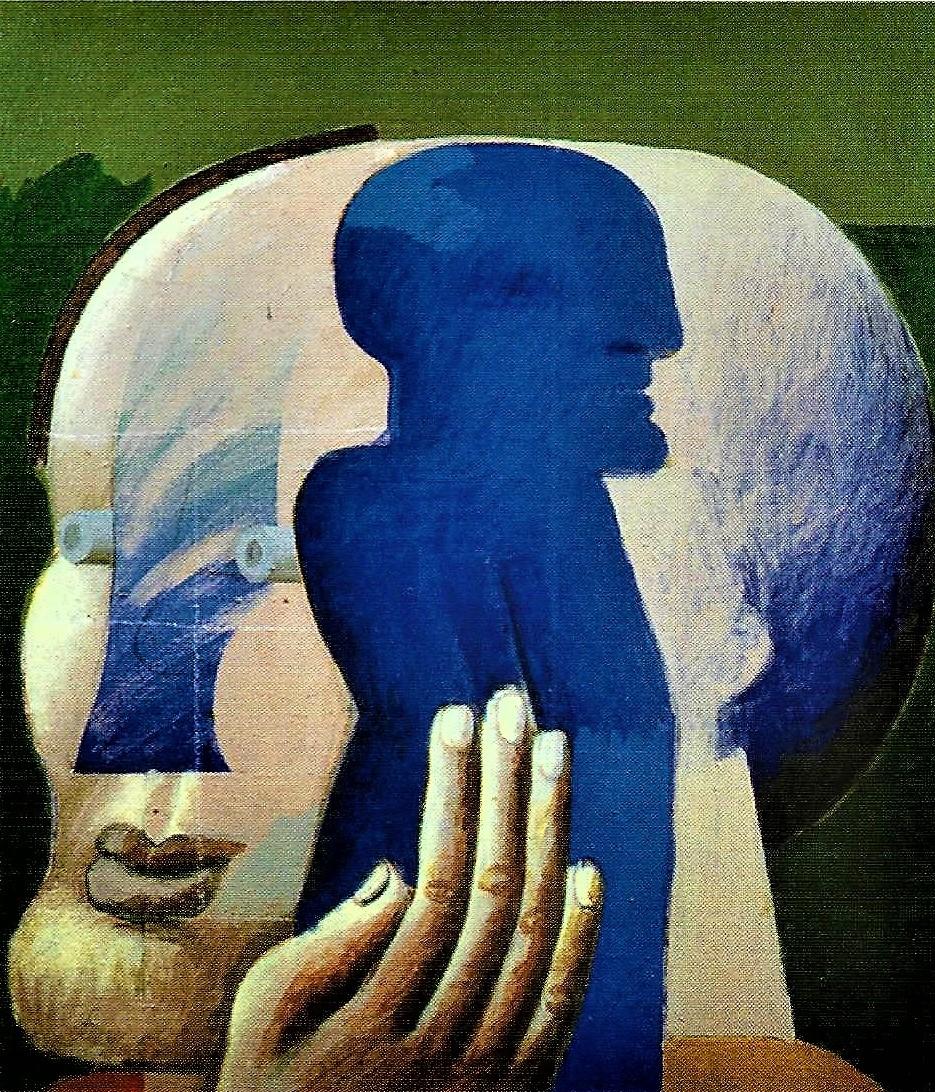 Horst Antes: 3/4 Kopf mit blauer Figur, 1972