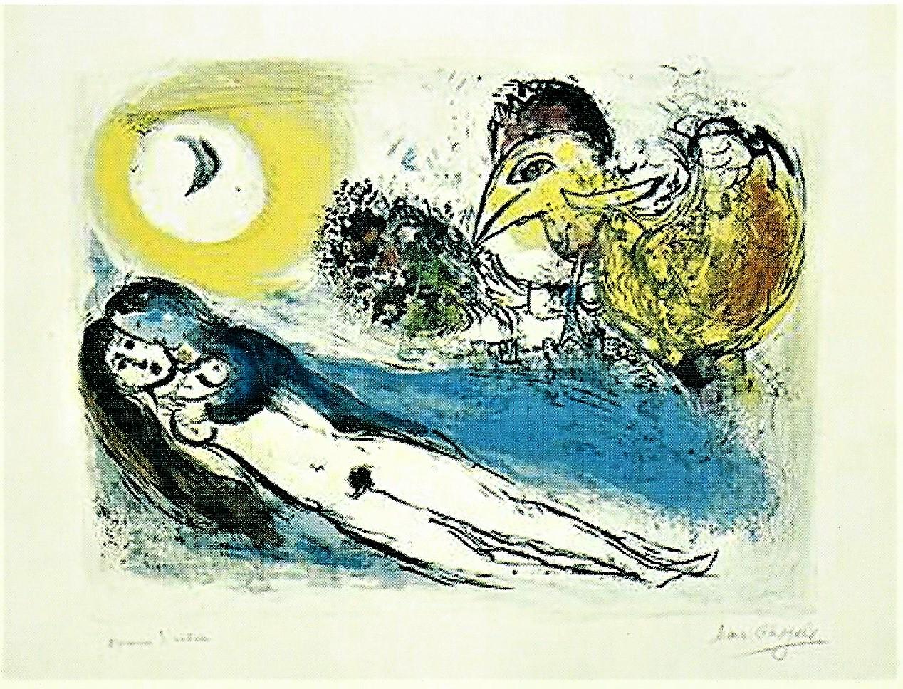 Marc Chagall: Paar mit Vogel, 1952