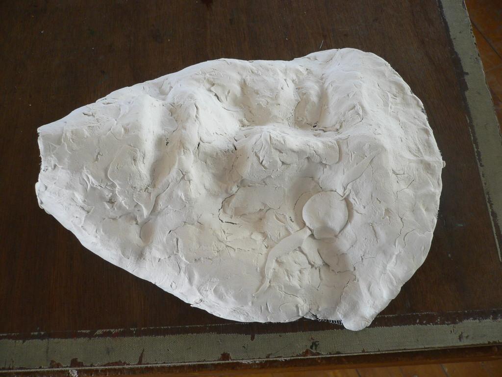 網と紙粘土の面