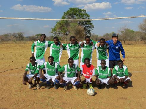 Eine Fußballmannschaft in Livingstone
