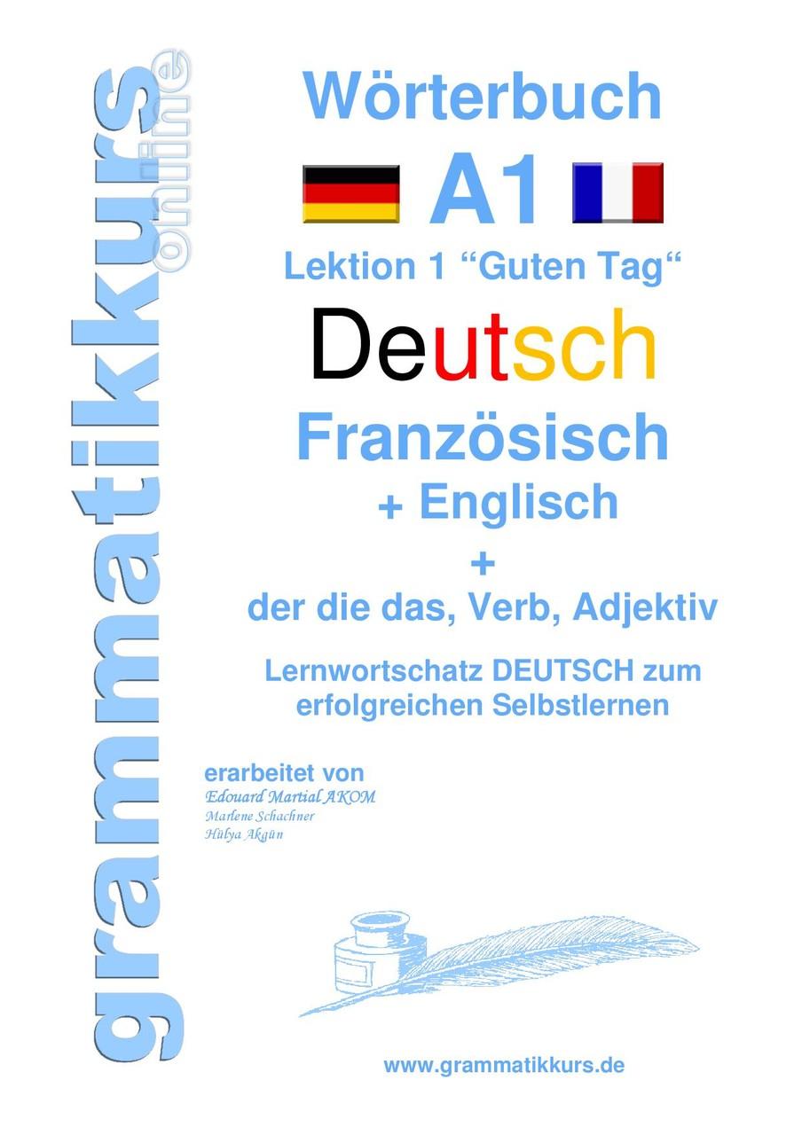 """Wörterbuch Deutsch-Französisch-Englisch Lektion 1 """"Guten Tag"""""""