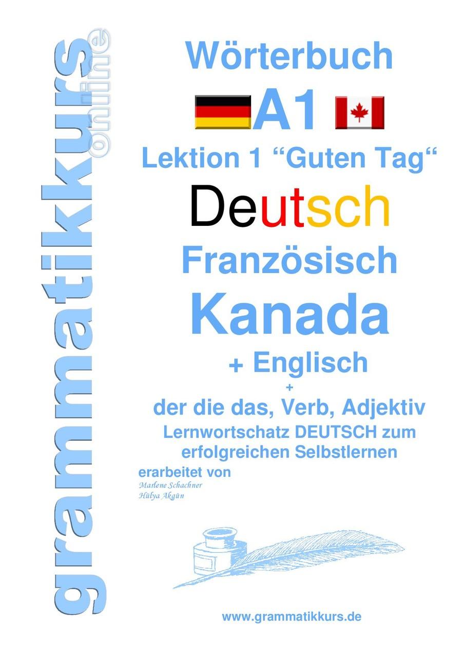 """Wörterbuch Deutsch-Französisch/Kanada-Englisch Lektion 1 """"Guten Tag"""""""