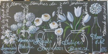 Fleurs bleues 100x50