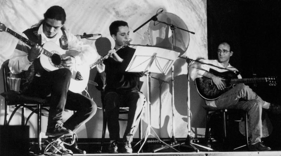Primer concierto del Julio García trío. Mercado Puerta de Toledo. Julio García, Alfonso Gutiérrez, Isidro Solera