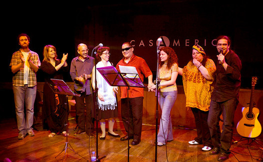 Presentación del CD en Casa de América: Luisão, Gabriela Maiztegui, Isidro Solera, Carmen Ros, Gladston Galliza, Beatrice Binotti, Lenna Pablo y Julio García
