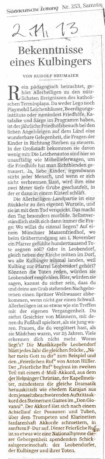 Süddeutsche Zeitung vom 2. November 2013