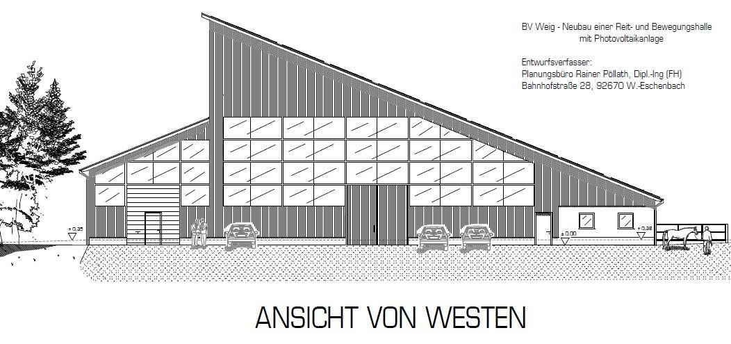 Entwurf - Reithalle 20 x 60 m mit Stallungen bei Neuhaus - 2008