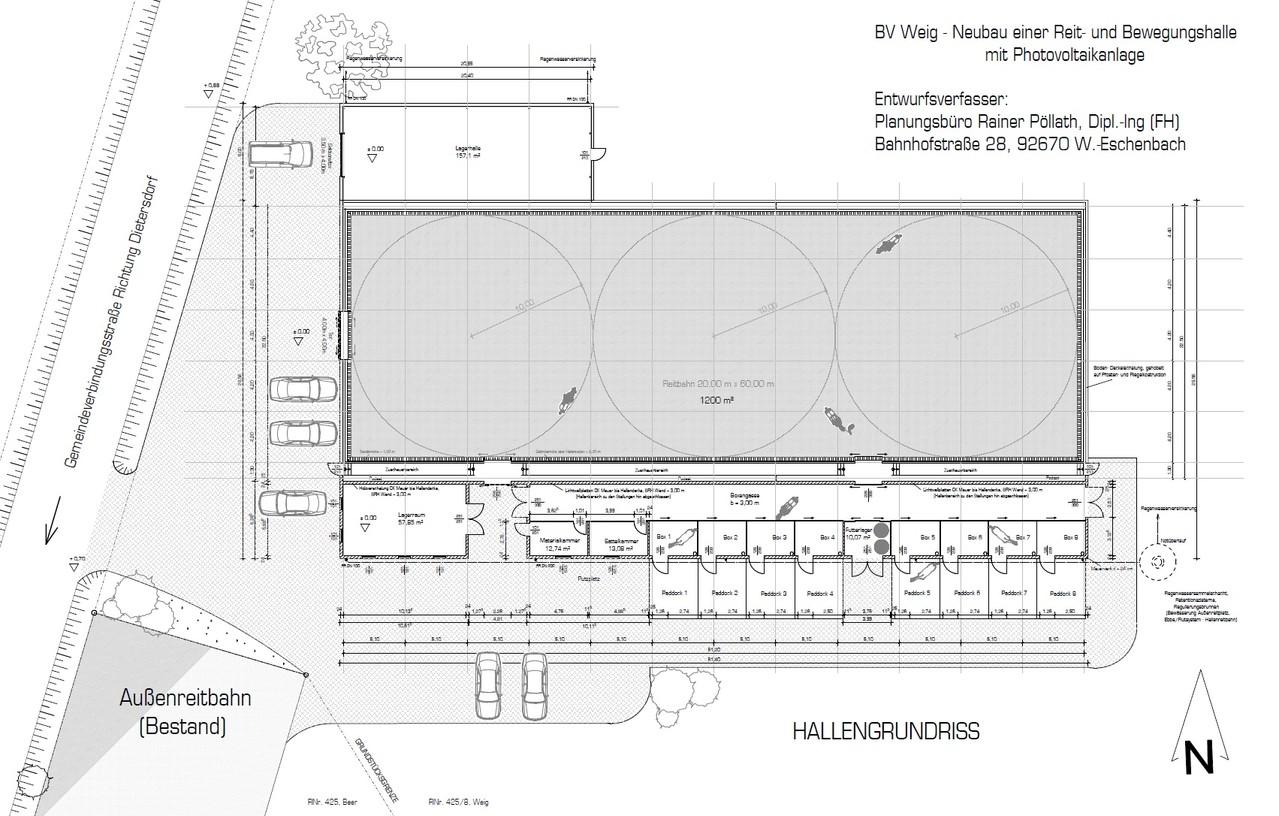 Entwurf - Reithalle 20 x 60 m mit Stallungen bei Neuhaus - Grundriss - 2008