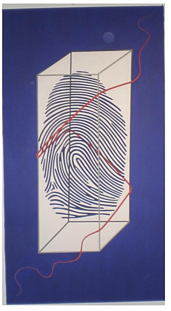 Fingerabdruck Porträt von Charles Wilp professionelle Schminke auf Leinwand, Größe 200 x 110 cm, Künstler Michael Franck