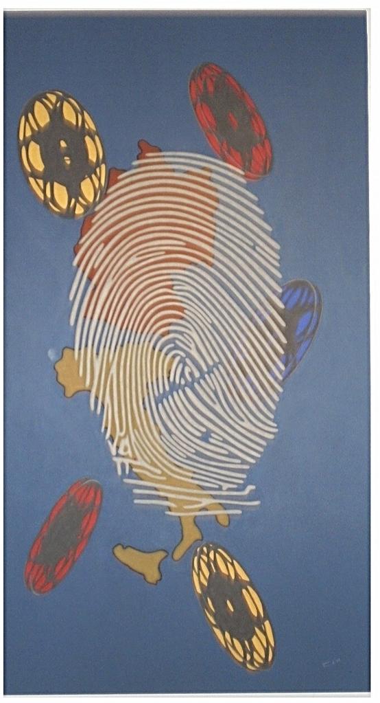 Fingerabdruck Porträt von Mario Adorf, professionelle Schminke auf Leinwand, Größe 200 x 110 cm, Künstler Michael Franck